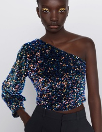 Fashion Color Sequined Asymmetric One Shoulder Top