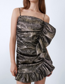 Fashion Dark Gray Metallic Frilled Ruffle Dress