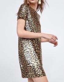 Fashion Leopard Print Sequined Leopard Print Dress