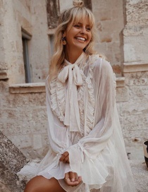 Fashion White Neckline Bow Multi-layer Ruffled Loose Dress Two-piece