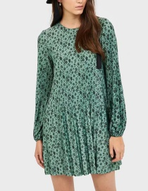 Fashion Green Pleated Flower Print Dress