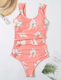 Fashion Pink Floral Print Pleated One-piece Swimsuit