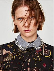 Fashion Black Fabric Diamond-drop Houndstooth Fake Collar