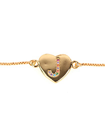 Fashion J-gold Heart Bracelet With Diamonds And Letters