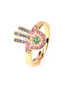 Fashion Color Adjustable Open Ring With Diamond Palm