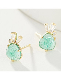 Fashion Green Natural Stone Ice Crack Rabbit Ear Studs