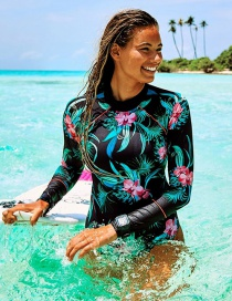 Fashion Black Print Printed Open Back Zip Long Sleeve One Piece Swimsuit