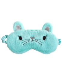 Fashion Light Green Cat Shading Plush Children's Eye Mask
