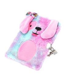 Fashion Violet (with Lock) Puppy Plush Bow For Children With Lock Password Notebook