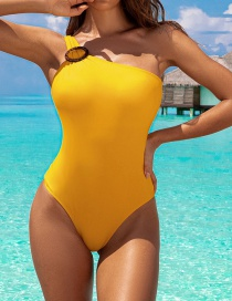 Fashion Yellow One-shoulder One-piece Swimsuit