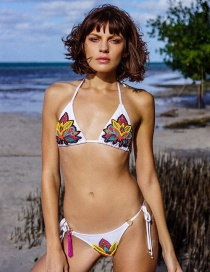 Fashion White Sequined Embroidered Strap-style Split Swimsuit