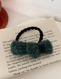 Fashion Yarn-dark Green Knitted Hair Rope With Bow