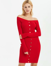 Fashion Red Threaded V-neck Breasted Dress
