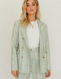 Fashion Green Checked Double-breasted Suit
