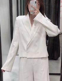 Fashion Creamy-white Button Short Suit