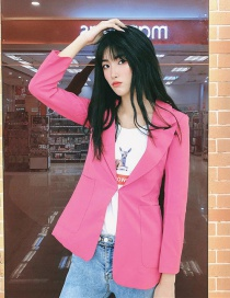 Fashion Rose Red Bright Silk Suit