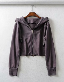 Fashion Brown Zip-up Hooded Raw Sweater
