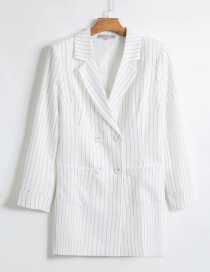 Fashion White Striped Double-breasted Suit