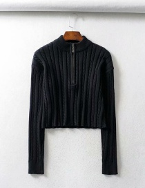 Fashion Black Zip Half Turtleneck Knit Top