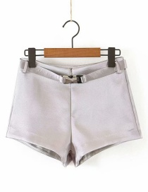 Fashion Silver Purple Belted Shiny Shorts