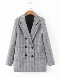 Fashion Gray Checked Double-breasted Suit