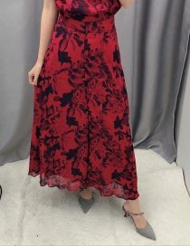 Fashion Red Floral-print Single-breasted Skirt