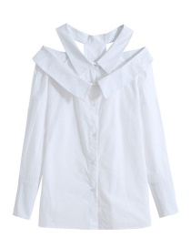 Fashion White Oversized Double-collar Single-breasted Shirt