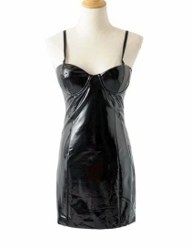 Fashion Black Lacquered Pu Leather Strapless Back Dress