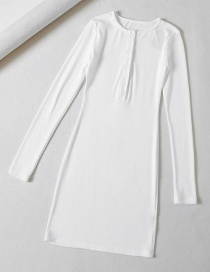 Fashion White Stretch-thread-knit Button-down Dress