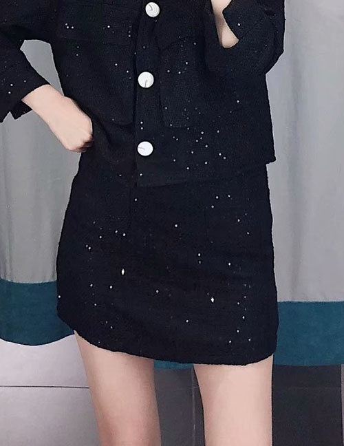 Fashion Black Sequined Skirt