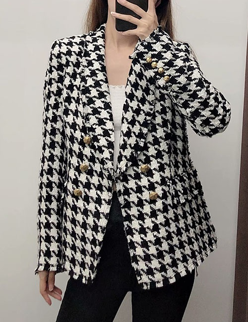 Fashion Black And White Houndstooth Double-breasted Jacket