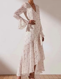 Fashion White Printed Ruffle Wrap Wrap Dress