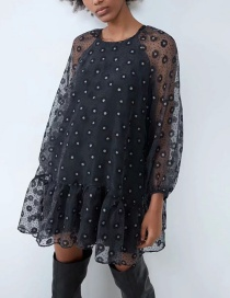 Fashion Black Printed Organza Dress