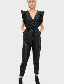 Fashion Black V-neck Faux Leather Jumpsuit With Ruffles