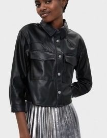 Fashion Black Faux Leather Pocket Overalls