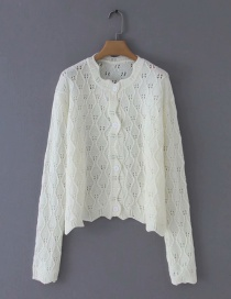 Fashion White Crocheted Crew Neck Single-breasted Sweater Cardigan