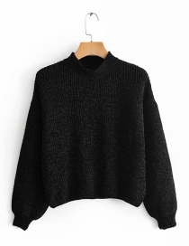 Fashion Black Snow Nylon Crew Neck Sweater