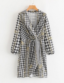 Fashion Black And White V-neck Houndstooth Pleated Dress