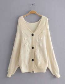 Fashion Beige V-neck Single-breasted Knitted Sweater