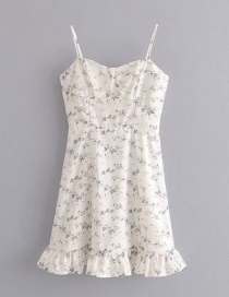 Fashion White Small Floral Sling Backless Tube Top Dress