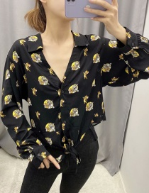 Fashion Black Shang Cat And Mouse Print Lace-up Shirt