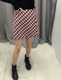 Fashion Wine Red Tweed Checked Skirt