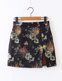 Fashion Black Embroidered Paneled Split Skirt