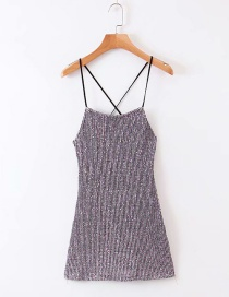Fashion Silver Stretch Sequin Strapless Back Dress