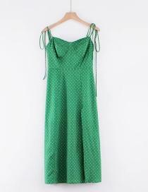 Fashion Black Dots On Green Background Chiffon Print Camisole Dress