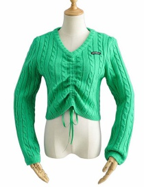 Fashion Grass Green Front Drawstring V-neck Knitted Sweater