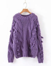 Fashion Purple Hollow Knit Ball Twist Sweater