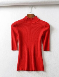 Fashion Red Threaded Collar Middle Sleeve Knit T-shirt