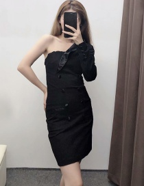 Fashion Black One-shoulder Double-breasted Suit Collar Dress