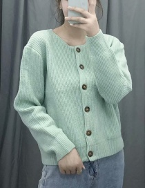 Fashion Green Straight Crew Neck Rib Knitted Single-breasted Cardigan